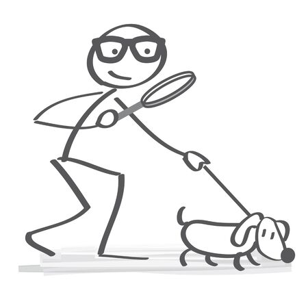 Search and analysis of information - stick figure with sniffer dog; and magnifying glass Vectores