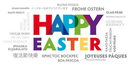 Colorful happy easter greeting card vector illustration in many languages