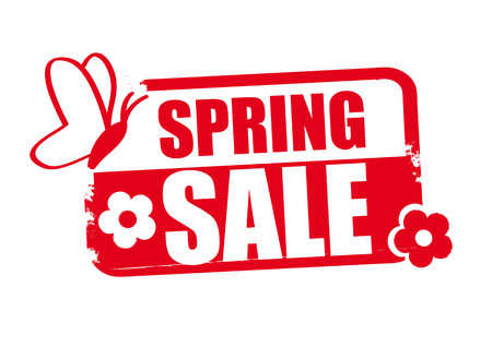 Spring sale word red stamp text on white background vector illustration.