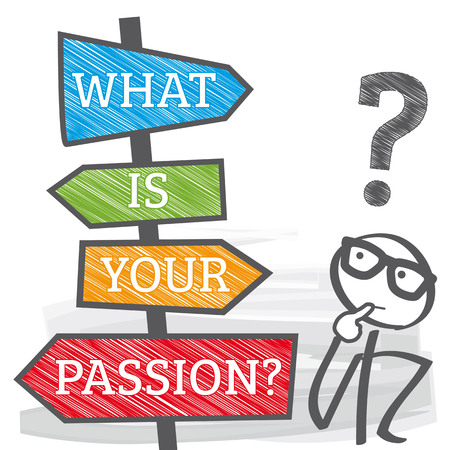 what is your passion - motivation phrase. Directional Signs colorful vector illustration Banco de Imagens - 95670708