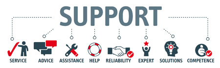 Banner support concept, service, advice, assistance and reliability vector illustration. Vetores