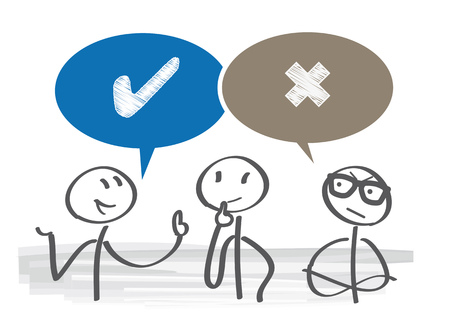 Dispute of Pros and Cons with speech bubble vector illustration.