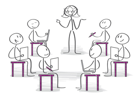Podczas warsztatów studenci słuchają wyjaśnień kierowniczki trenerki Ilustracje wektorowe