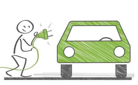 vector illustration of a green electric car charging at the charger station