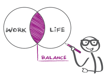 Stick figure drawing work Life Balance vector illustration concept at whiteboard Ilustração