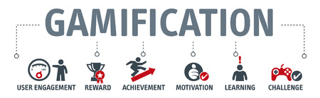 Banner gamification vector design concept with keywords and icons
