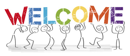 Stick figures holding the word Welcome. Vector banner with the text welcome