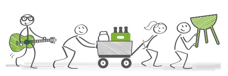 Friends prepare for barbecue party. Vector illustration with stick figures Banque d'images - 99833502