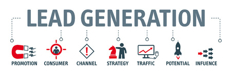 Banner lead generation, marketing process for generating business leads. Vector illustration with icons Stock Illustratie