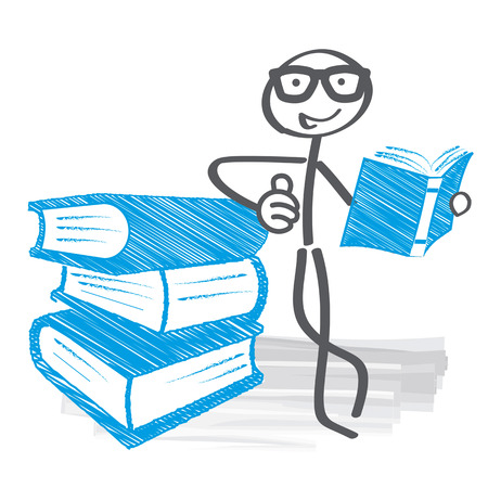 Student reading books. Books lying upon another. Vector illustration concept