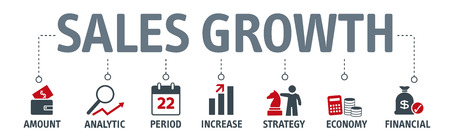 Banner sales growth concept. The amount by which the average sales volume of a company's products or services has grown, typically from year to year.