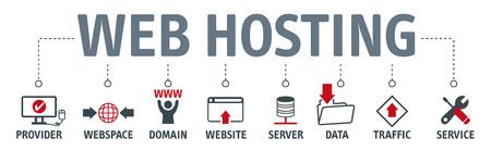 Banner SEO online website hosting technology vector illustration concept.