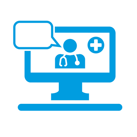 Tele medicine icon, doctor on the computer screen with stethoscope and speech bubble. Çizim