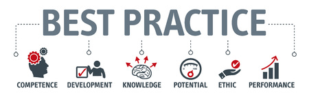 Banner best practice vector illustration concept. competence development knowledge potential ethic and performance icons Ilustrace