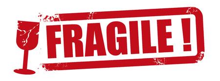 Fragile grunge red rubber stamp on white background, vector illustration Illustration