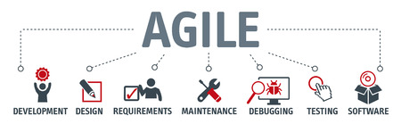 Agile development software business web computer agility concept. Vector illustration with icons Illustration