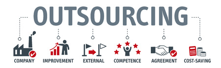 Banner outsourcing concept. vector illustration with keywords and icons