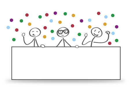 Group presenting empty banner, message greeting. Vector concept background with stick figures