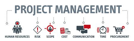 Concept d'illustration vectorielle de gestion de projet de bannière avec icônes Vecteurs