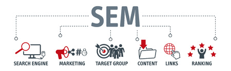 Banner SEM search engine marketing vector illustration concept with keywords and icons Ilustracje wektorowe