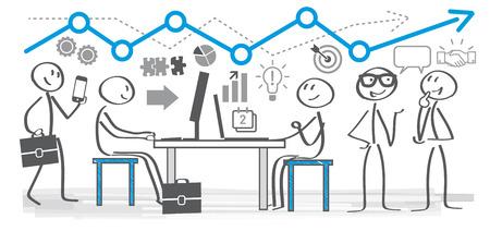 Ilustracja wektorowa koncepcji planowania biznesowego. Koledzy w biurze pracujący razem
