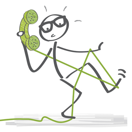 Portrait de bonhomme allumette parlant au téléphone. Illustration vectorielle