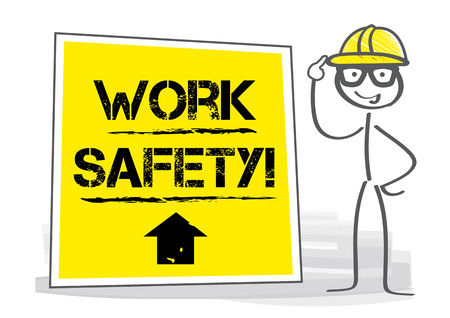 work safety - Construction worker repairman with information sign. Vector illustration