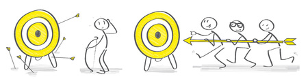 Vector illustration concept of opposites - alone we can do so little, together we can do more