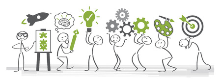 creativity vector illustration concept. Stick figures with differnt creative symbols