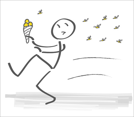 Swarm of wasps forces man to flee home. vector illustration Ilustrace