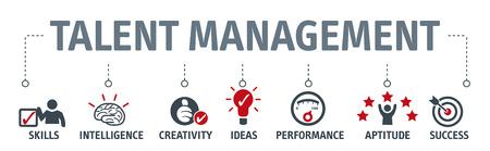 Banner human resource management, talent management and recruitment business vector illustration concept