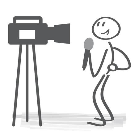 TV news studio with broadcaster and vector illustration concept. broadcasting journalist Ilustração
