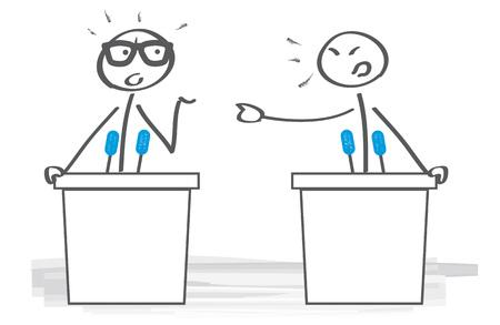 Un homme d'affaires n'est pas d'accord pour débattre lors des négociations de bureau. Illustration vectorielle