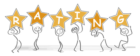 Star rating. Stick figure holding gold stars in hand. Feedback concept.