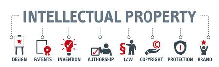 Banner-Vektorillustrationskonzept des geistigen Eigentums mit Schlüsselwörtern und Symbolen