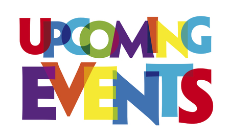 Upcoming events. Vector illustration letters banner, colorful badge illustration on white background Stock Illustratie