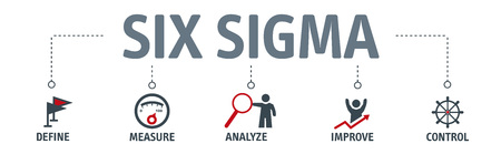Banner lean six sigma vector illustration concept with keywords and icons 矢量图像