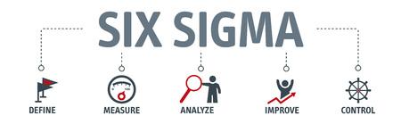 Banner schlankes Six-Sigma-Vektor-Illustrationskonzept mit Schlüsselwörtern und Symbolen Vektorgrafik