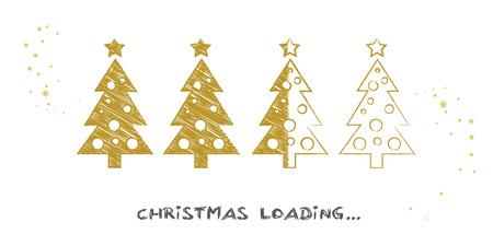 progress bar with Christmas tree showing loading of christmas