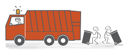 Vector illustration of garbage removal worker emptying dustbin into waste vehicle. Public cleansing service  イラスト・ベクター素材
