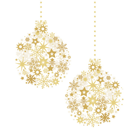 Christmas ball with golden stars illustration with sparkling Christmas glitter ornaments isolated on white
