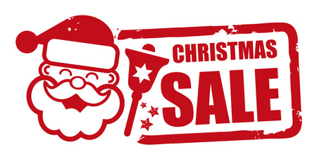 christmas sale grunge rubber stamp vector illustration with santa claus