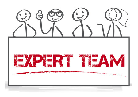 The words Expert Team holding by four people who are mentors, teachers, instructors and problem solvers