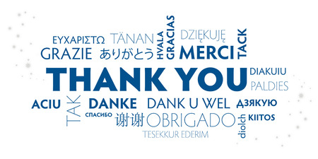 blue and white postcard thank you multilingual - vector illustration concept Vetores