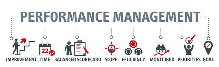 Performance management vector illustration concept - chart with keywords and icons Vektoros illusztráció