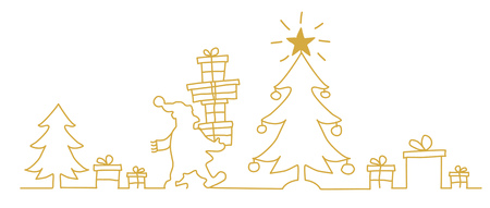 Merry Christmas. Santa Claus near the Christmas tree with gift. Continuous line drawing vector illustration golden color