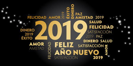 Happy New Year Spanish Language greeting card with spanish slogan feliz año nuevo and good wishes for the new year. Black background and golden text  イラスト・ベクター素材