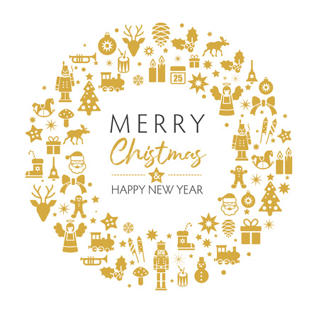 merry christmas and happy new year greeting card with golden christmas symbols on white background. Vintage typography design for xmas, new year emblem in retro style.  イラスト・ベクター素材