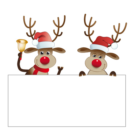 Two Reindeers with blank signboard. illustration of red-nosed Reindeers on white background pointing at a sign. Isolated.