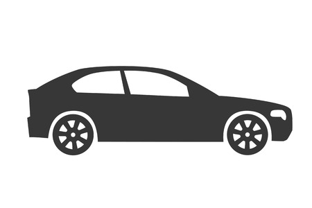 Car icon. Auto icon vector on white background. Car side view.